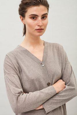 Maska Milo Fine Knit Organic Cotton Cardigan Beige