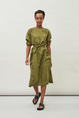 Maska Opal Linen Dress Avocado Green