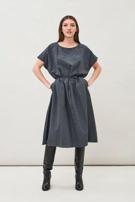 Maska Malia Structured Organic Cotton Dress Charocal