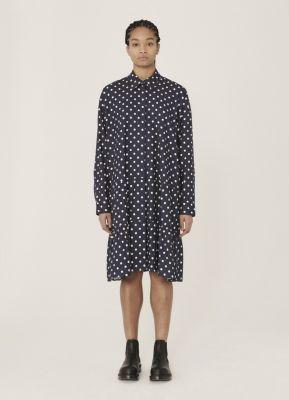 YMC Luna Rayon Cotton Dot Print Dress Navy Ecru