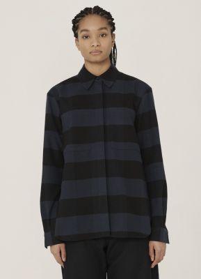 YMC Work Cotton Stripe Shirt Navy Black