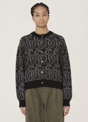YMC Atomic Merino Wool Paisley Cardigan Black Grey