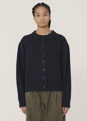 YMC Rat Pack Merino Wool Pique Knit Cardigan Navy