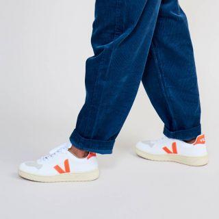 VEJA V-10 CWL White Orange Fluo Butter Sole Sneakers Womens