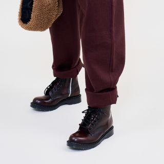 Solovair Burgundy Rub-Off 8 Eye Zip Derby Boot