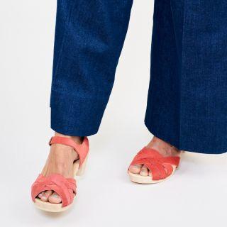 Bosabo Flexi Wooden Sole - Medium Heeled Suede Sandals Bright Red
