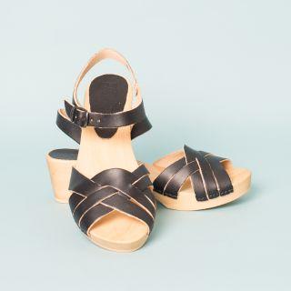 Bosabo Flexi Wooden Sole - Medium Heeled Sandals Black