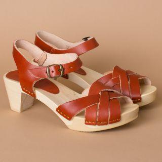 Bosabo Flexi Wooden Sole - Medium Heeled Sandals Red Rust