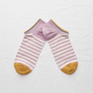 Bonne Maison Ankle Socks Rosewood Stripe