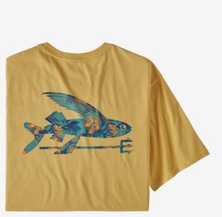 Patagonia Flying Fish Organic Cotton Mens T-Shirt Surfboard Yellow