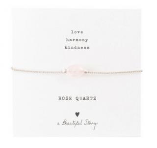 Beautiful Story Gemstone Map Rose Quartz Silver Bracelet