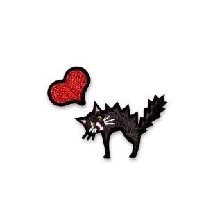 Macon & Lesquoy Red Heart + Black Cat Badge