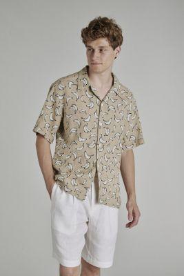 Delikatessen Italian Linen Shirt Banana Print