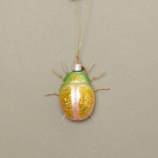 Vondels Scarabee Green/Pink Glass Ornament