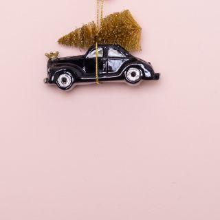 Vondels Black Car With Christmas Tree Glass Ornament