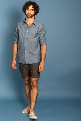 Camicia Uomo Long Sleeve Shirt Denim Blue