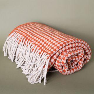 Burel Azulejo Mini Blanket White Pearl and Orange