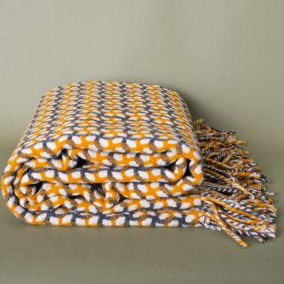 Burel Gathering Blanket White Pearl, Orange and Grey