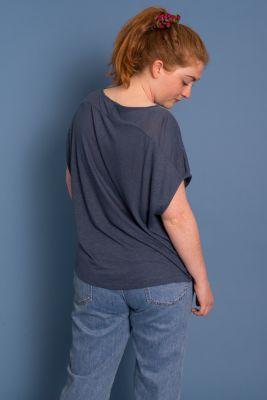 New Wide Style T-Shirt Dark Denim Blue