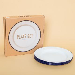 Falcon Enamelware Plate Set - White with Blue Rim