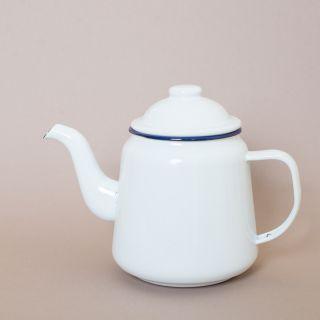 Falcon Enamelware Tea Pot White with Blue Rim