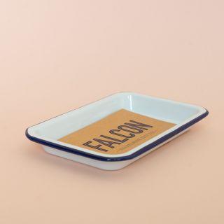 Falcon Enamelware Small Tray White with Blue Rim
