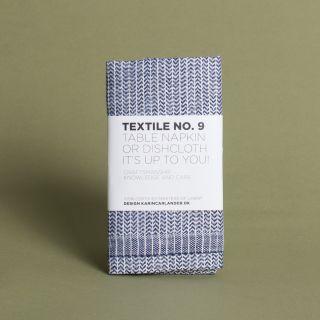 Karin Carlander - Textile No.9 Table Napkin or Dishcloth Yinyang Blue/Wheat