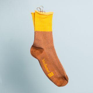 Kitchener Items Socks - Ribbed & Colourblock Firenze Cognac & Mustard