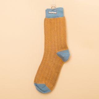 Kitchener Items Socks Fischgrat Ocra Amber & Blue Claudio