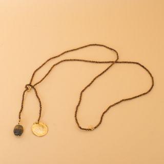 Fairy Tiger Eye Dandelion Gold Necklace