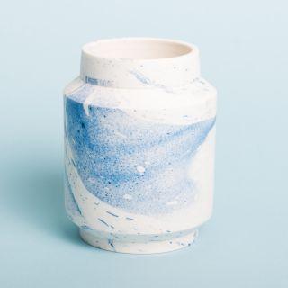 Laurin Schaub Basic Vase Blue & White Marbled