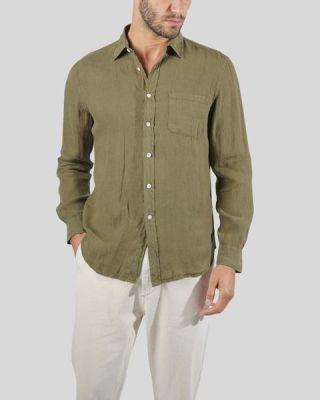 Portuguese Flannel Linen Long Sleeve Olive