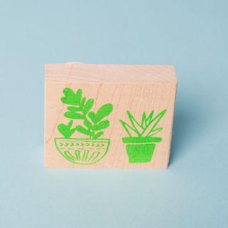 Yellow Owl Cactus Stamp