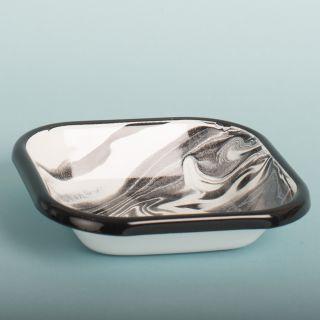 Bornn Black Enamel Marble Square Plate Small
