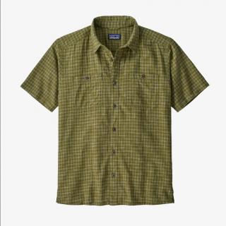 patagonia men's back step shirt ikat net palo green