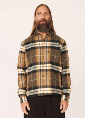YMC Curtis Wool Check Shirt Olive