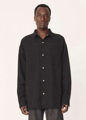 YMC Ryder Cotton Floral Jacquard Overshirt Black