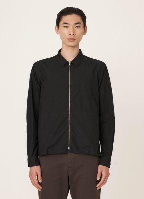 YMC Bowie Organic Cotton Zip Shirt Black