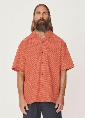 YMC Mitchum Cotton Sashiko Stitch Shirt Red