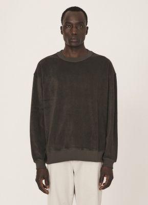 YMC Daisy Age Cotton Towelling Crew Sweater Black olive