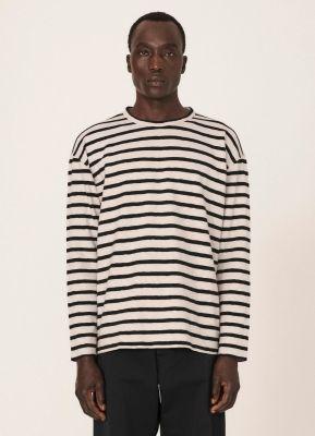 YMC Thurston Cotton Stripe Jersey Shirt Stone Black