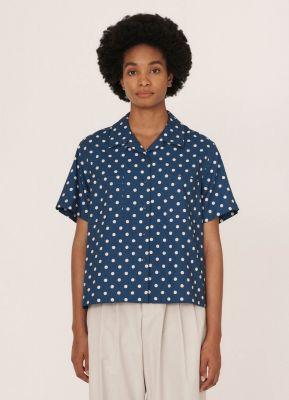 YMC Vegas Rayon Cotton Shirt Blue Ecru