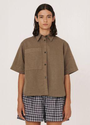 YMC Eva Cotton Linen Shirt Olive
