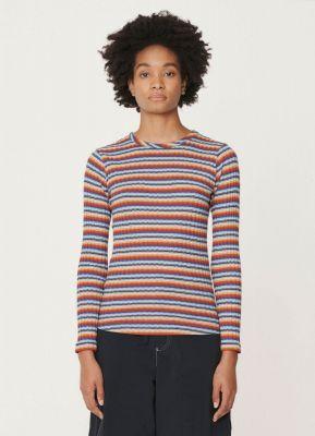 YMC Raindrops Rib Cotton Jersey Long Sleeved Shirt Multi