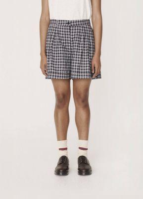 YMC Walker Cotton Linen Check Shorts Navy
