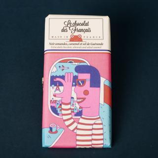 Le Chocolat des Francais Extra Dark 56% with Amonds & Salted Caramel