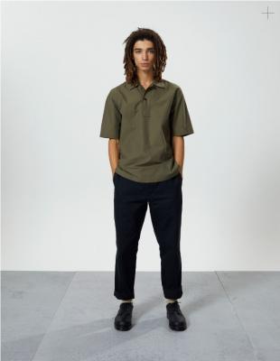 Margaret Howell Faced Polo Shirt Sheet Cotton Linen Khaki
