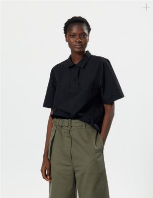 Margaret Howell Faced Polo Shirt Black