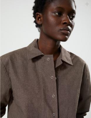 Margaret Howell Wide Placket Shirt Dense Cotton Brown