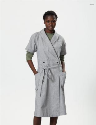 Margaret Howell Short Sleeve Wrap Dress Grey